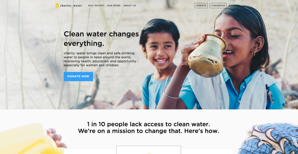 la web de charity water