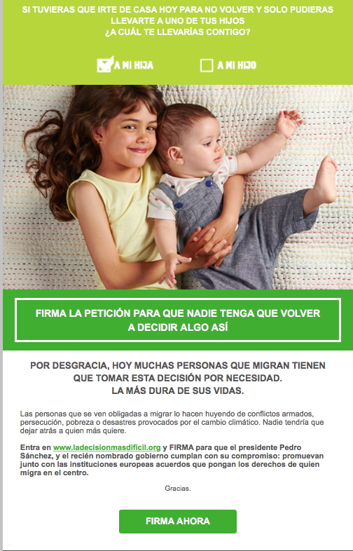 Campaña de mail marketing de Oxfam Intermon
